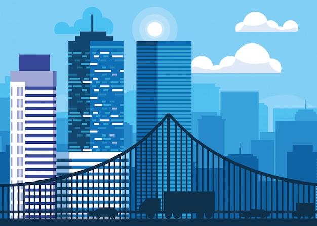 橋と建物の街並みシーン Premiumベクター