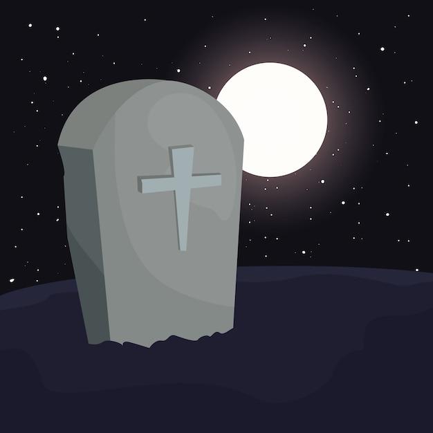 ハロウィーンのシーンで月と墓地墓石 Premiumベクター