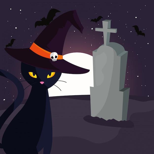 墓地のシーンで月と黒猫 Premiumベクター