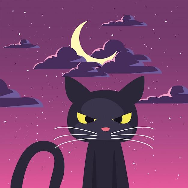 ハロウィーンのシーンで月と黒猫 Premiumベクター