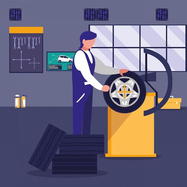 Автомобиль в ремонтной мастерской с механиком, работающим Premium векторы