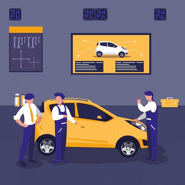 Автомобиль в мастерской с командой механиков Premium векторы