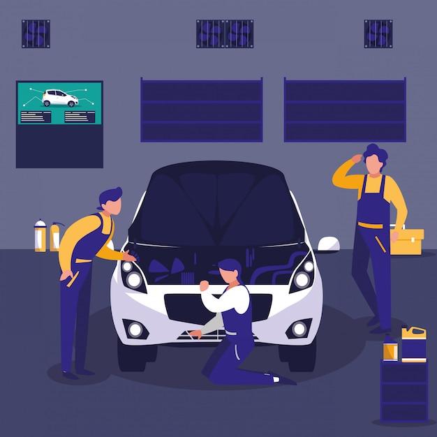 整備士チームとのメンテナンスワークショップで車 Premiumベクター
