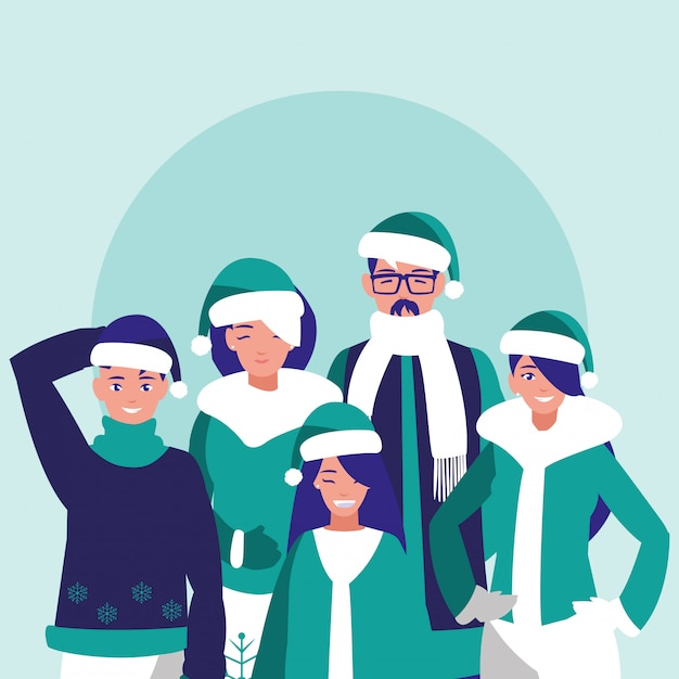 クリスマスの服と家族のグループ Premiumベクター