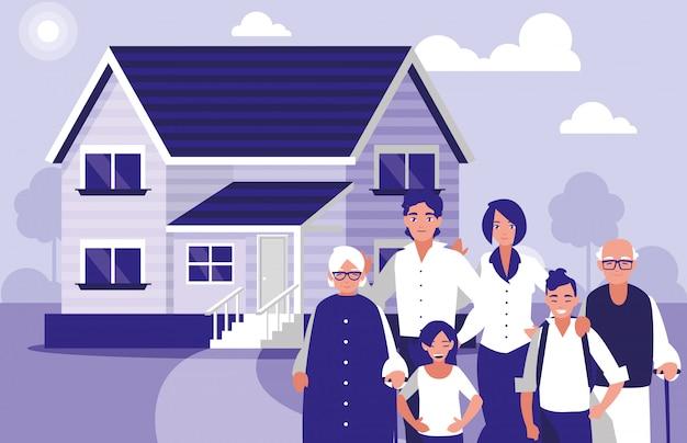 Группа членов семьи с домом Premium векторы