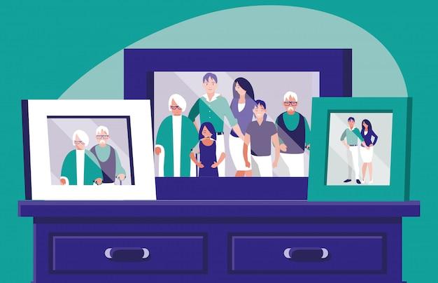 引き出しの中に家族の写真がある肖像画 Premiumベクター