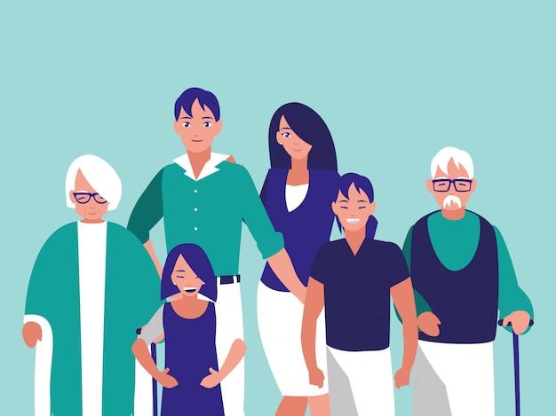 Группа членов семьи персонажей Premium векторы