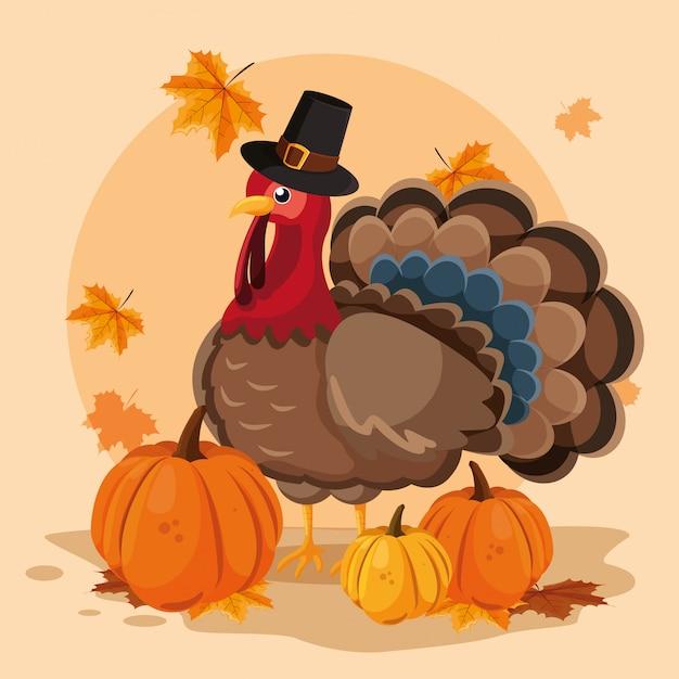 感謝祭の日のカボチャと帽子の巡礼者とトルコ Premiumベクター