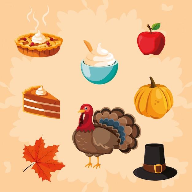 アイコンセットと感謝祭のトルコ Premiumベクター