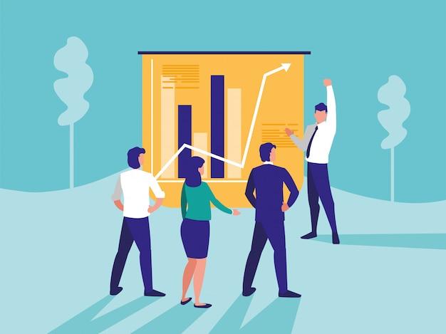 Группа деловых людей с графикой статистики Premium векторы