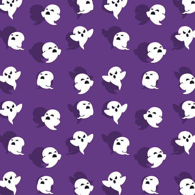 Открытка на хэллоуин с фоновым рисунком призрака Premium векторы