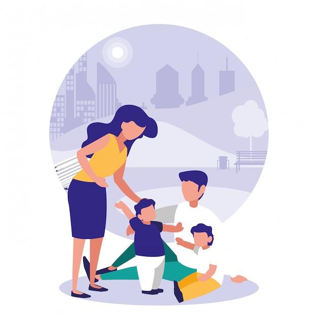 Милая семья в парке Premium векторы