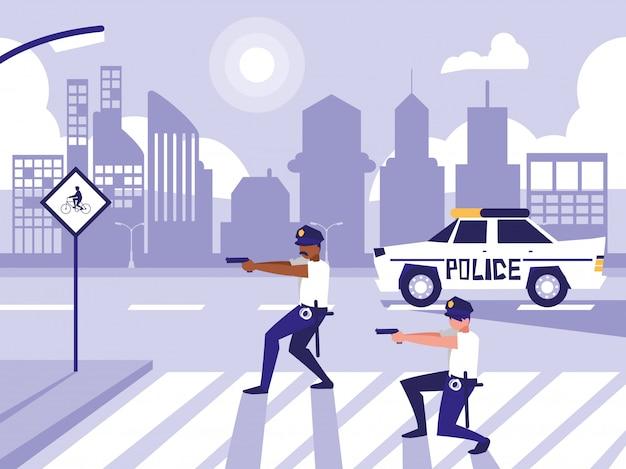 道路通りで車を持つ警察の男性 Premiumベクター