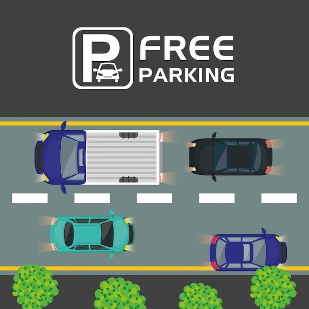 無料駐車場の眺め Premiumベクター