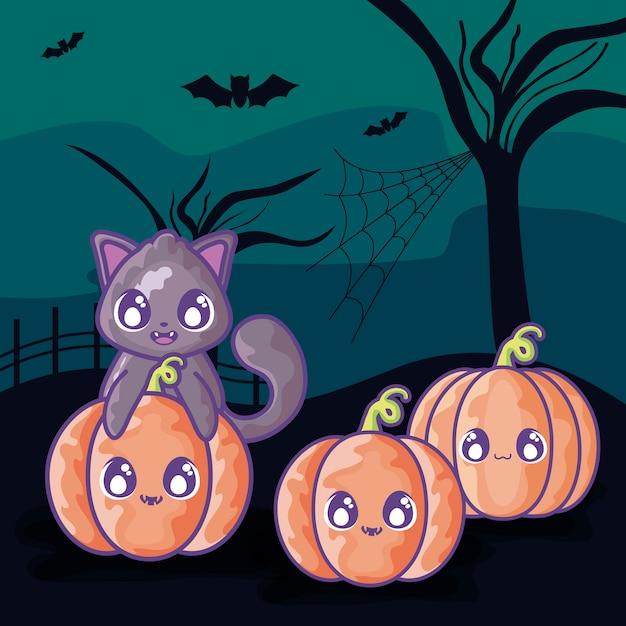 Милый кот с тыквой на сцене хэллоуин Premium векторы