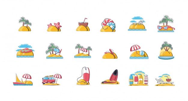 Пачка икон летнего отдыха на пляже Premium векторы