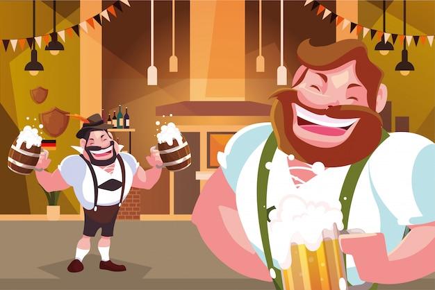 Мужчины в немецком традиционном платье пьют пиво в баре октоберфест Premium векторы