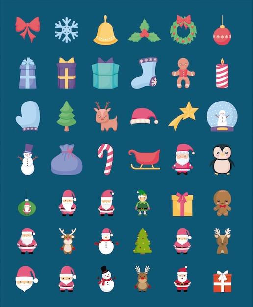 Набор иконок с рождеством Premium векторы