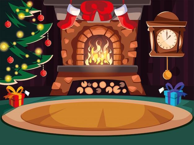 煙突とクリスマスの装飾付きのリビングルーム Premiumベクター