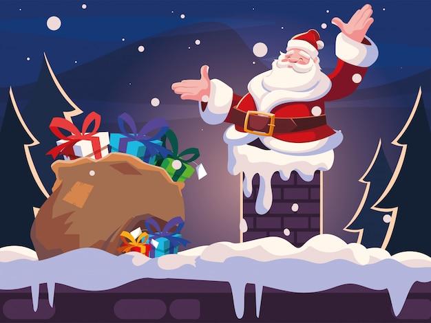 Рождественский мультфильм санта-клауса, входящего в дымоход Premium векторы