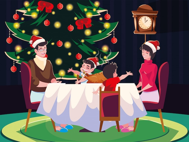 ダイニングルーム、クリスマスの夜のシーンで家族 Premiumベクター