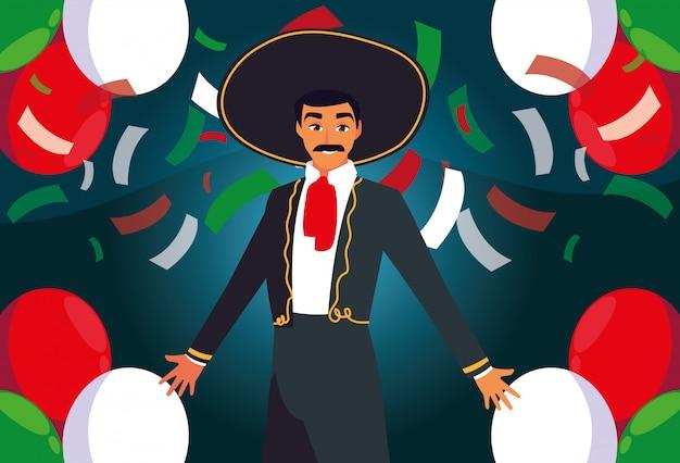 紙吹雪の背景にマリアッチの衣装を持つ男 Premiumベクター
