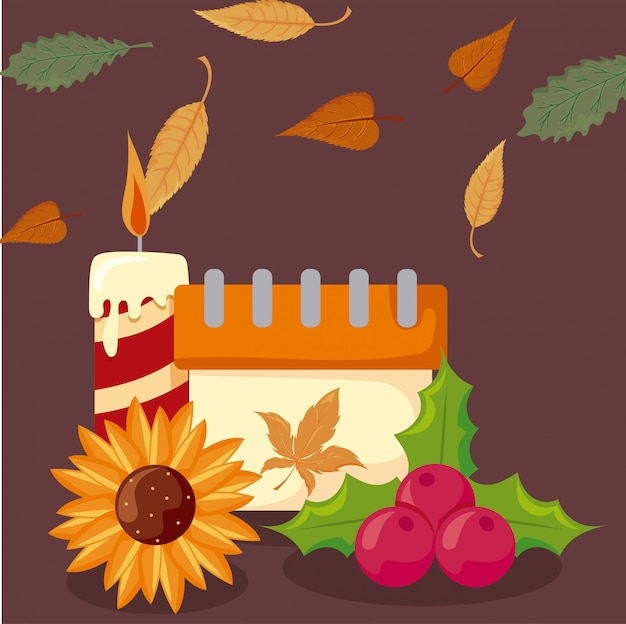 秋の紅葉とアイコンの感謝祭のセット Premiumベクター
