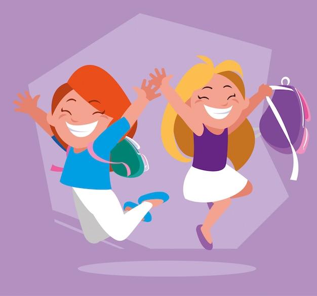 学校に戻って、学用品を持つ学生の女の子 Premiumベクター