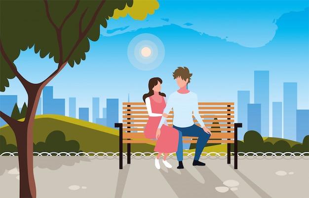 公園の椅子に座って愛の人々のカップル Premiumベクター