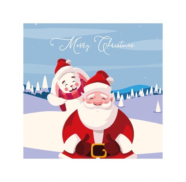 Счастливого рождества дед мороз и кролик Premium векторы
