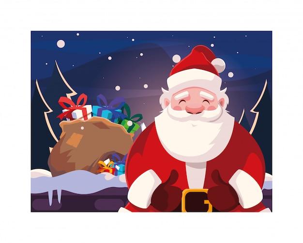 С рождеством христовым дед мороз Premium векторы