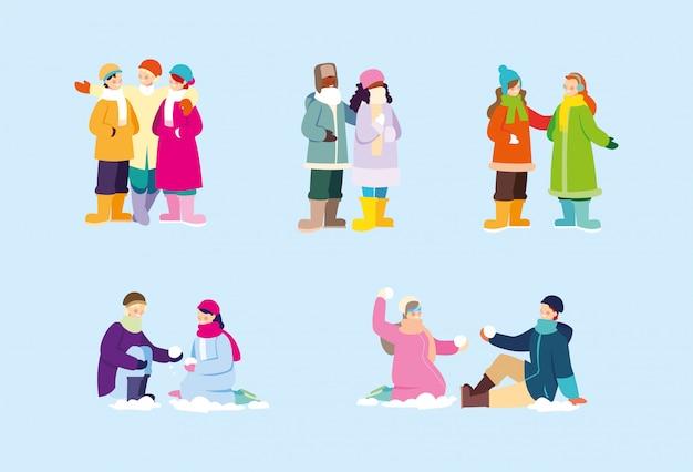 一連のシーン、冬服の人々 Premiumベクター
