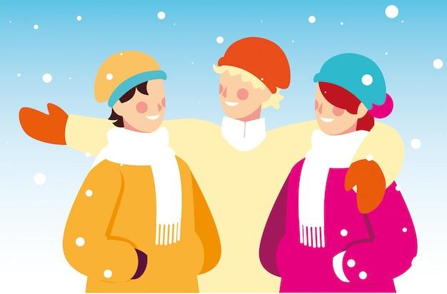 Группа людей с зимней одежды в пейзаж со снегопадом Premium векторы