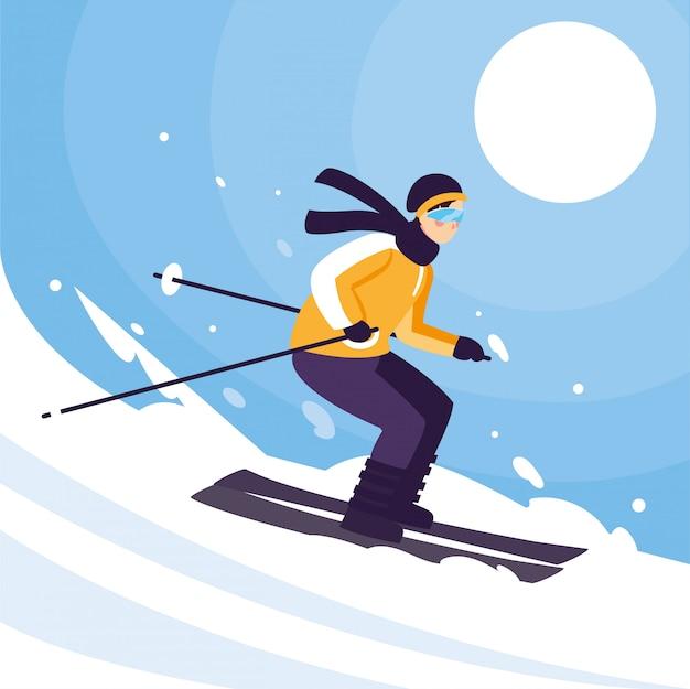Человек с горными лыжами, стоя и в движении. горные лыжи, экстремальный зимний спорт Premium векторы