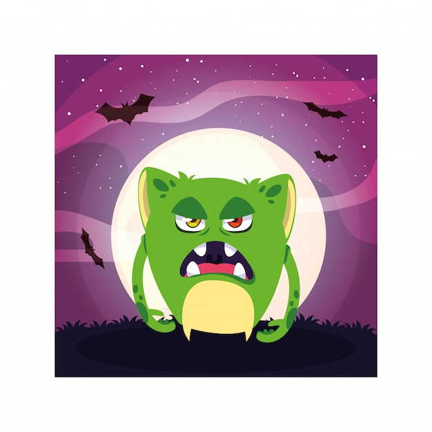 ハロウィーンの夜、怒っているモンスターの怖いモンスター Premiumベクター