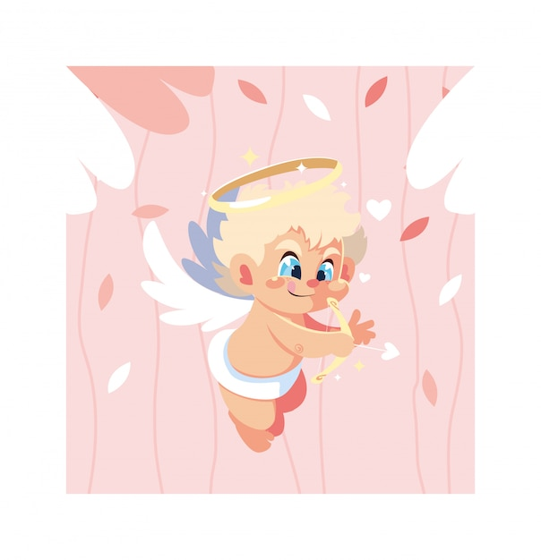 かわいいキューピッドの天使、バレンタインデー Premiumベクター
