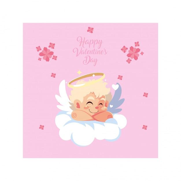 バレンタインの日、雲で寝ているキューピッドの天使 Premiumベクター