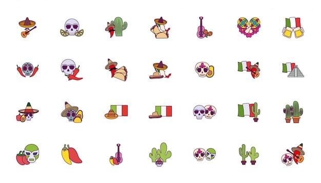 孤立したカラフルなメキシコのアイコンを設定 Premiumベクター