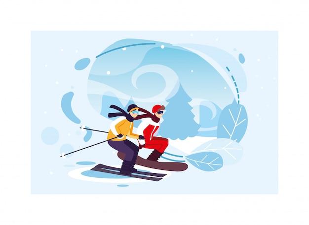 Мужчины занимаются спортом зимой Premium векторы