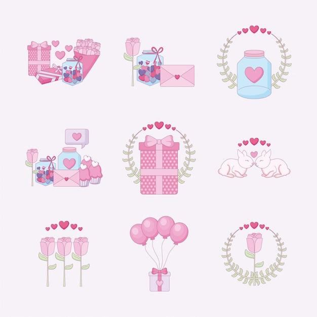 Любовь и счастливый день святого валентина набор иконок Premium векторы