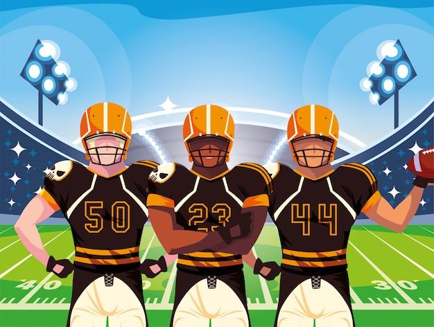 ラグビーのフットボール選手、ユニフォームを持つスポーツマンのチーム Premiumベクター