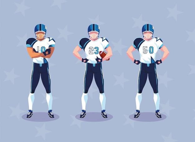 ユニフォームを持つスポーツマン、男性チームプレーヤーアメリカンフットボール Premiumベクター