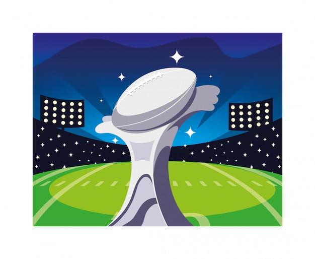 フットボールスタジアムでのアメリカンフットボールスポーツ賞 Premiumベクター