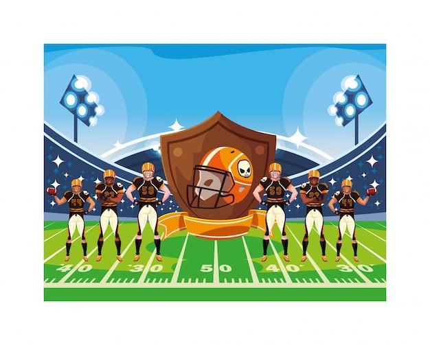 スタジアムでのアメリカンフットボール選手のチーム Premiumベクター