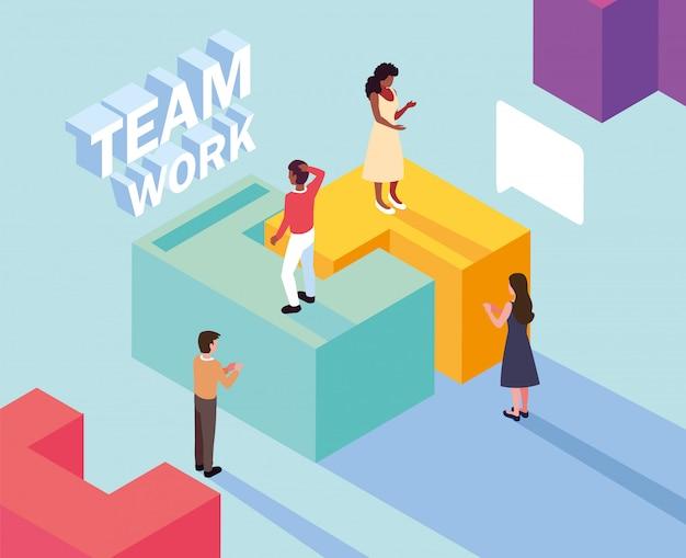 Группа людей с частью головоломки, работа в команде Premium векторы