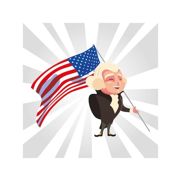 Президент джордж вашингтон с флагом сша Premium векторы