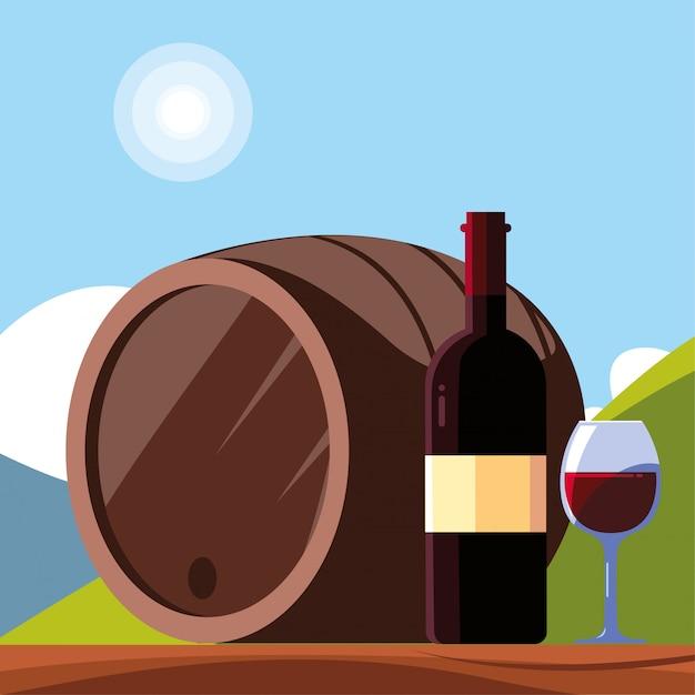 Бутылка вина с рюмкой, национальный винный день Premium векторы