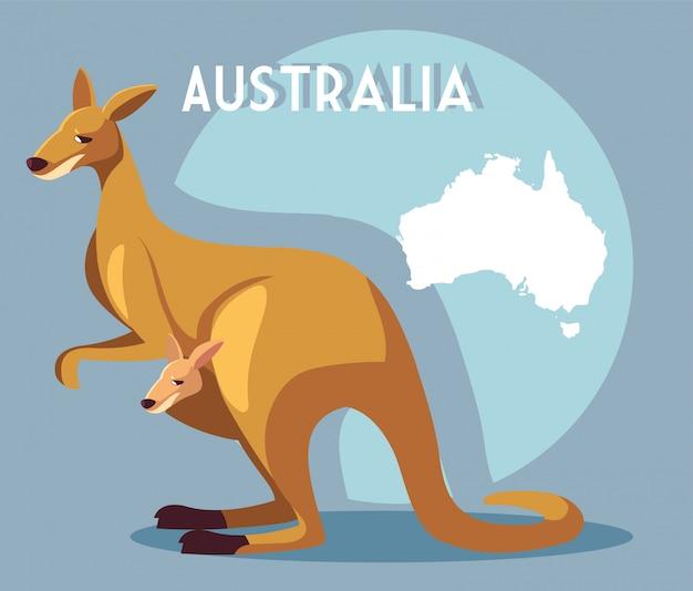 オーストラリアの地図とカンガルー Premiumベクター