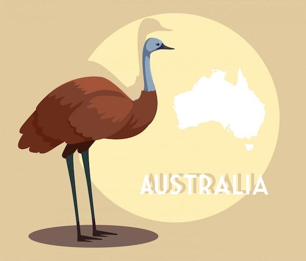 オーストラリアの地図とエミュー Premiumベクター