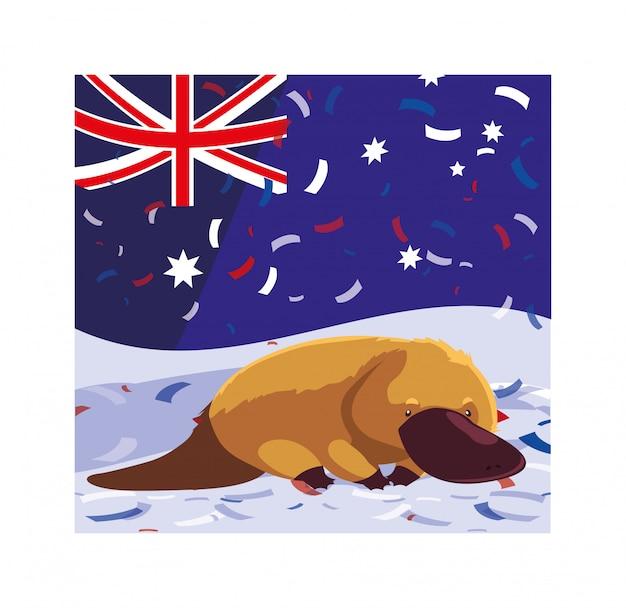 Утконос с флагом австралии Premium векторы